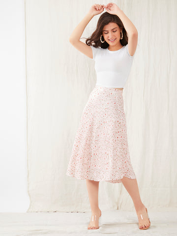 Pink Floral Print High Waisted Skirt