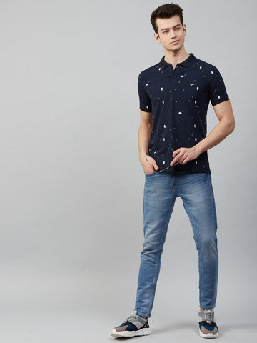 Slingshot Navy Printed Polo T-Shirt