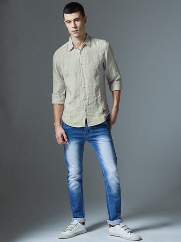 White Solid Smart Formal Linen Shirt By Arrow