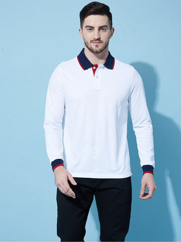 White Tipping Polo Full Sleeves T-Shirt