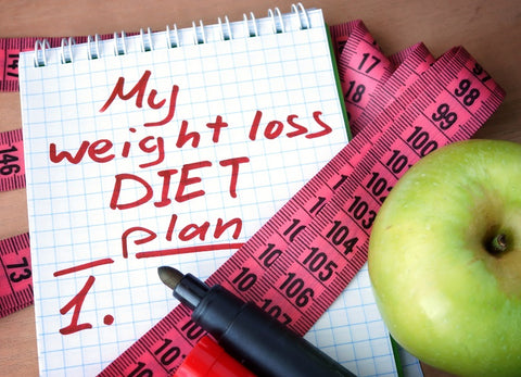 Notepad with weight loss diet plan handwritten