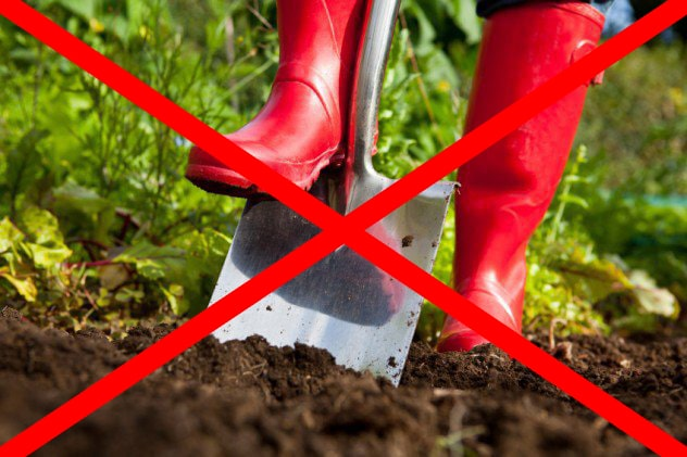 Digging up soil incorrectly with a shovel