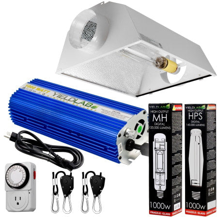 Yield Lab 1000W HPS+MH Cool Hood Reflector Grow Light Kit for indoor grow rooms and grow tents.