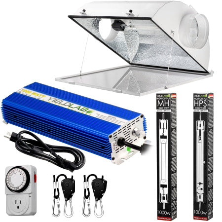 Yield Lab Pro Series 1000W HPS+MH Air Cool Hood Double Ended Complete Grow Light Kit for indoor grow tents and grow rooms.