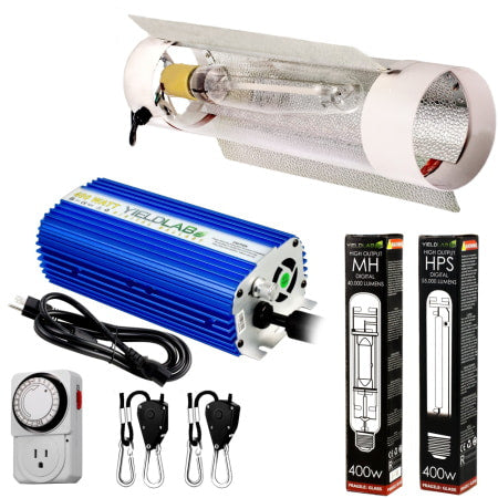 Yield Lab 400W HPS+MH Cool Tube Reflector Grow Light Kit for indoor grow tents and grow rooms.
