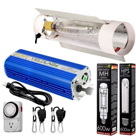 Yield Lab 600W HPS+MH Air Cool Tube Reflector Digital Grow Light Kit for indoor grow tents or grow rooms.