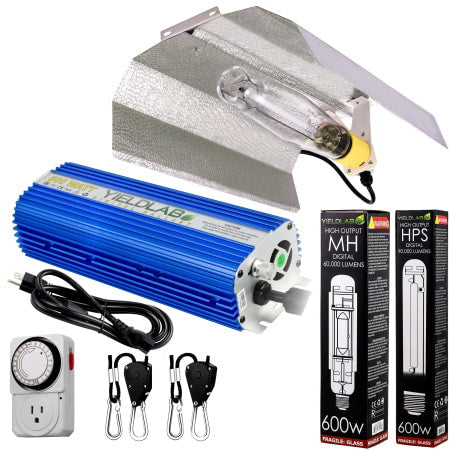Yield Lab 600W HPS+MH Wing Reflector Digital Grow Light Kit for indoor grow rooms and grow tents.