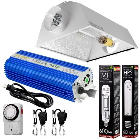 Yield Lab 600W HPS+MH Air Cool Hood Reflector Grow Light Kit for indoor grow tents and grow rooms.