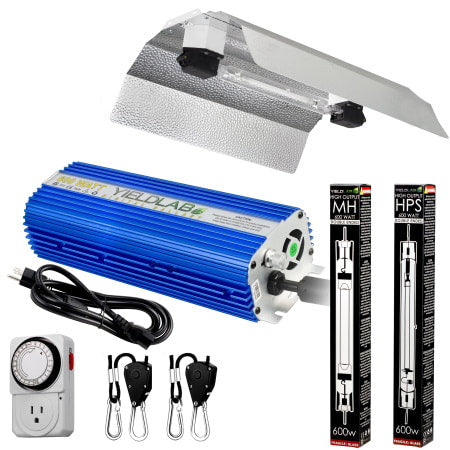Yield Lab Pro Series 600W HPS+MH Double Ended Wing Reflector Complete Grow Light Kit for indoor grow rooms and grow tents.