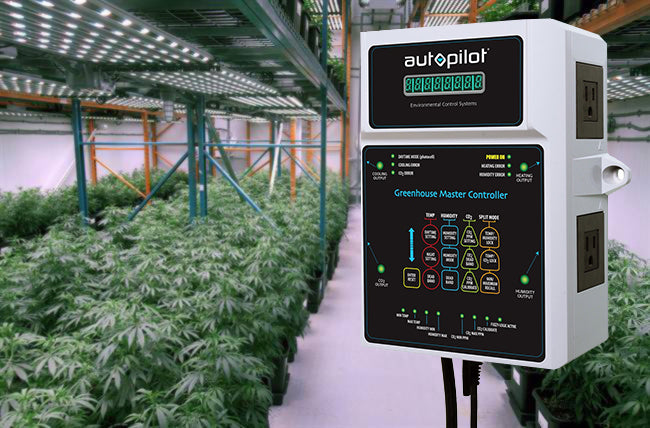 Autopilot environmental controller hanging in a large grow room