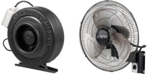 Grow room duct fan and wall mount fan for indoor grow room and grow tent ventilation.
