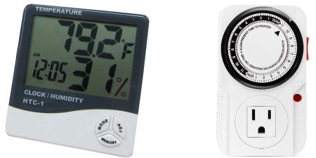 Thermo-hygrometer and timer for indoor grow room or grow tent.
