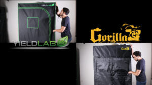 Yield Lab grow tent and a Gorilla grow tent