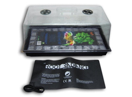 Propagation tray, rooting tray, dome, and heat mat for plant cloning.