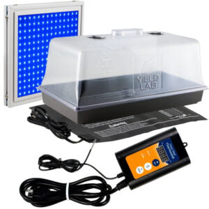 Cloning kit with propagation tray, heat mat, controller, dome, and blue LED grow light.