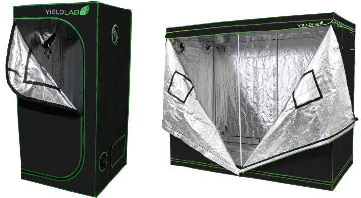 Small and large grow tents for indoor gardening.