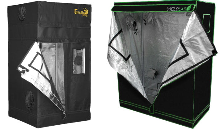 Small Gorilla Grow Tent and Yield Lab Grow Tent.