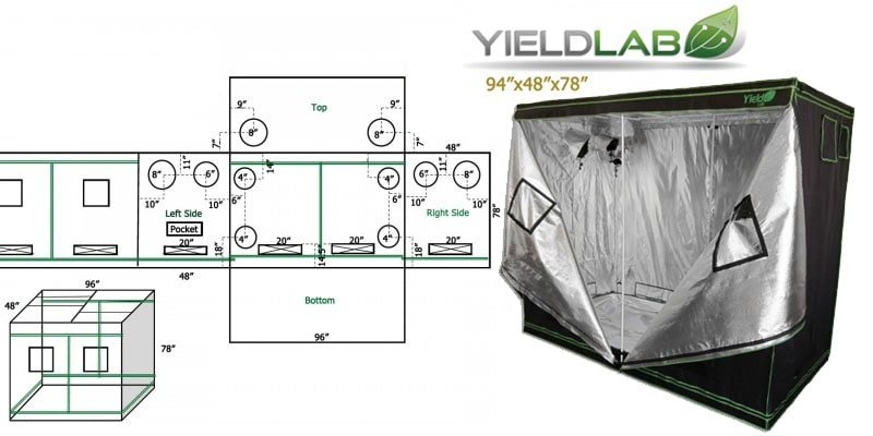 Dimensions and specifications of a Yield Lab 94'x94'x78' grow tent