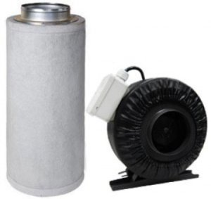 This is an image of a 440 CFM duct fan and charcoal filter for an indoor grow tent or grow room.