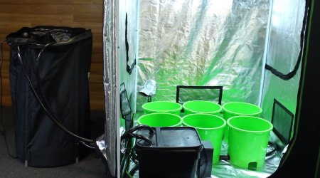 This image shows an ebb and flow hydroponics system being set up inside a grow tent.