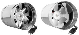 This is a picture of 6-inch and 4-inch booster fans for a grow tent or grow room.