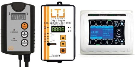 This is an image of three grow room controllers designed to keep climate and environmental levels in a grow room or grow tent at healthy levels.