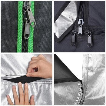 This shows the zippers, seems, and stitching of a grow tent.