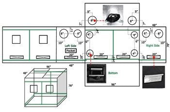 This is a diagram of the airflow ports and vents that a grow tent offers.