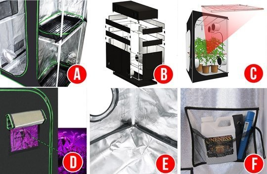 This shows the extra's of a grow tent, included shelf racks, height extensions, trellis netting, windows, and flood trays.
