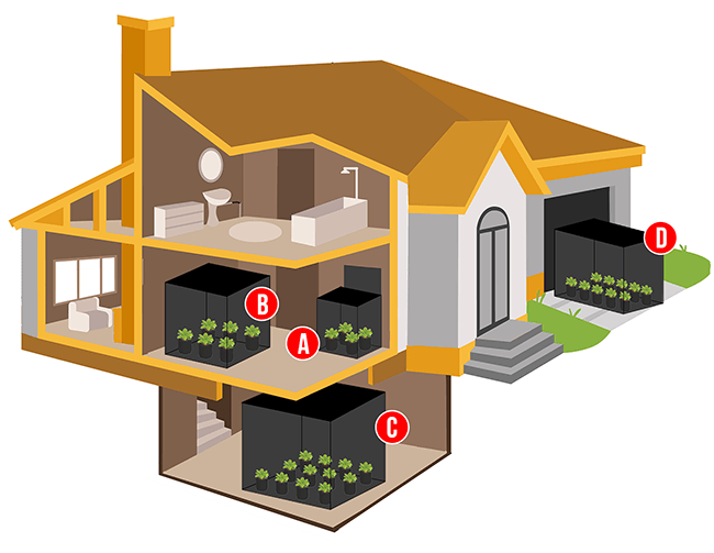 This shows the placement of various grow tents inside rooms of a house.