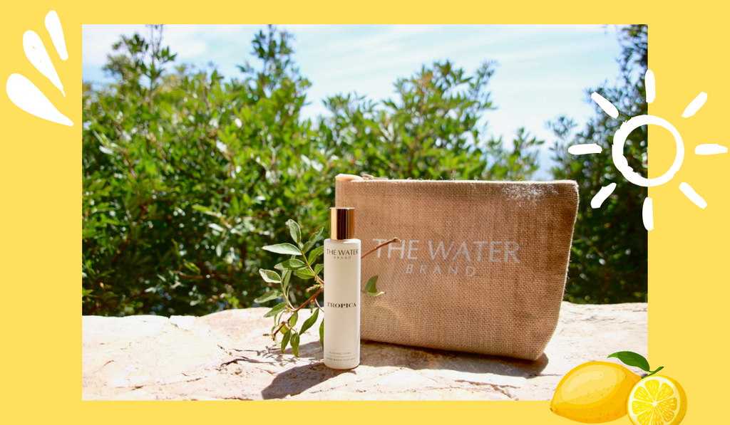 Tropica alcohol-free perfume with the water brand bag in a natural background