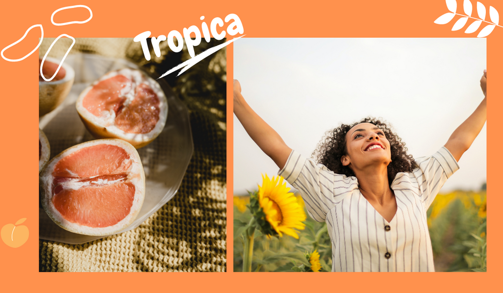 A happy girl enjoying her moment, next to another picture with a lot of juicy grapefruit