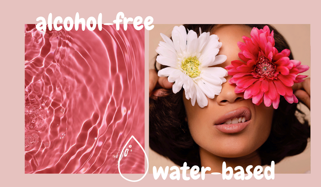 Alcohol-free tag with a woman holding two flowers in front of here eyes. Also pink water