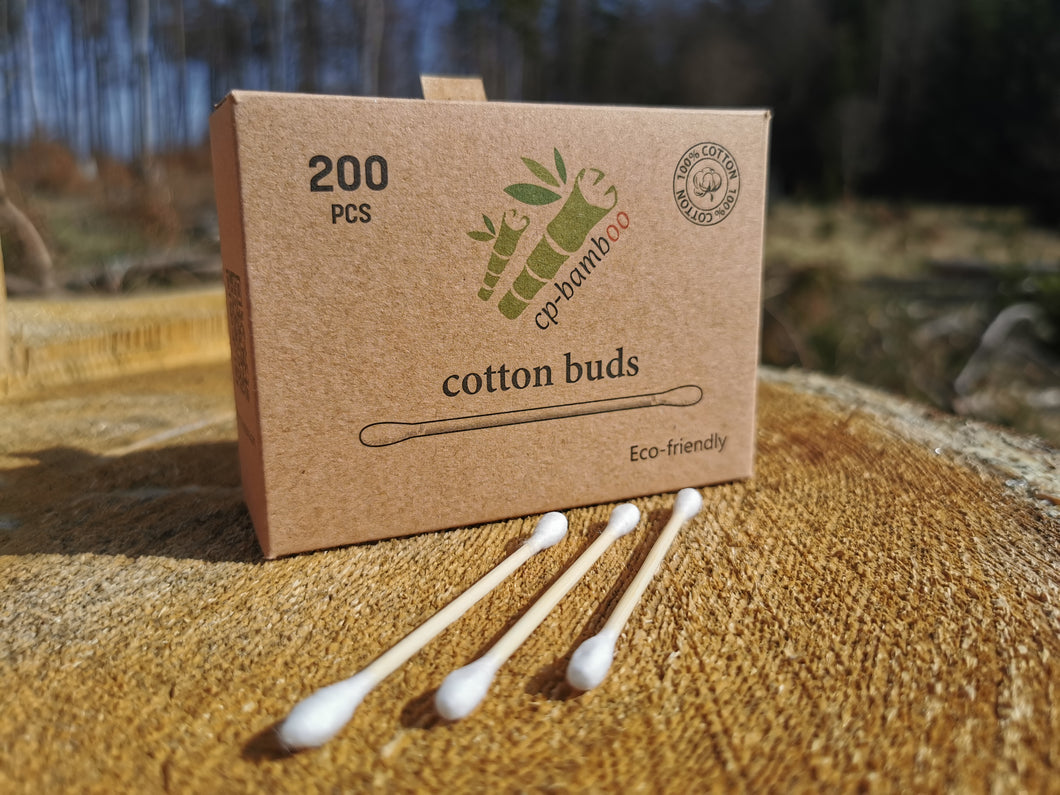 200 bamboo cotton swabs for hygiene, cosmetics and beauty - sustainable, ecological and vegan
