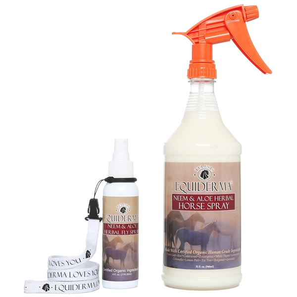 Equiderma neem and aloe natural horse spray and 4 oz travel size