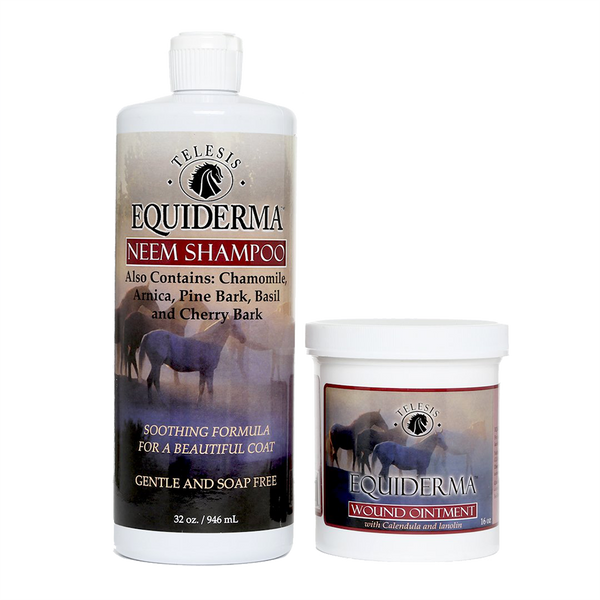 Equiderma neem shampoo and calendula and neem wound ointment for horses