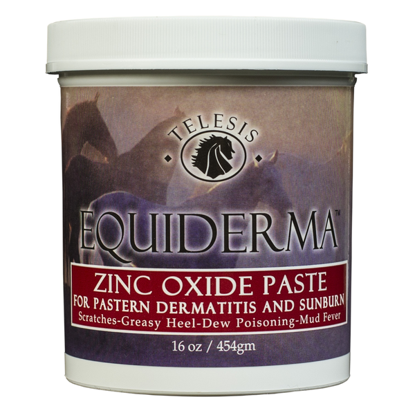 Equiderma zinc oxide paste for horses with scratches or sunburn