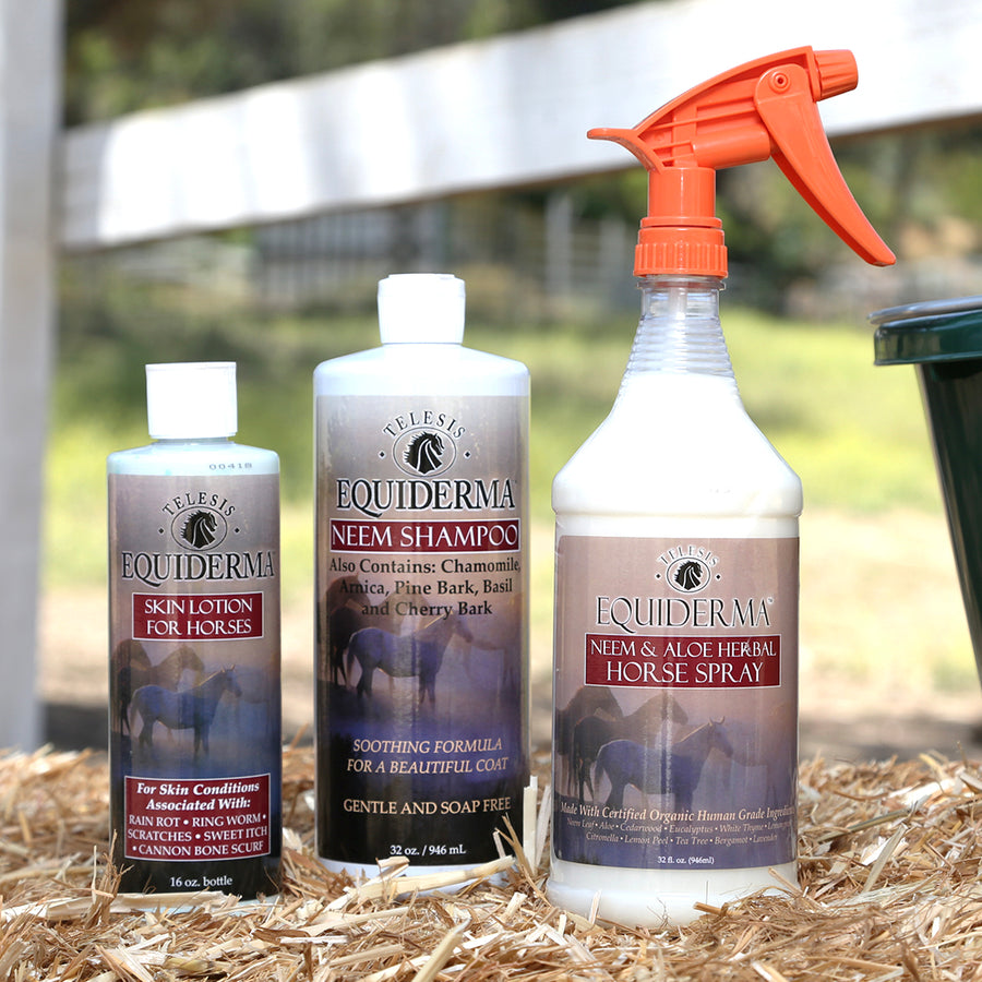 Equiderma:  Neem Shampoo, Skin Lotion & Outdoor Spray Tri Pack - Equiderma | Natural Horse Care | Pet Care Products  - Equiderma