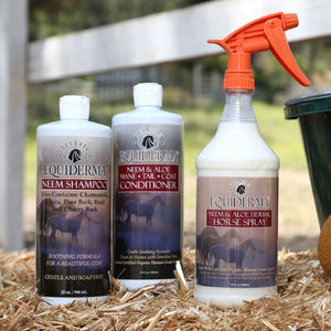 Equiderma:  Neem Shampoo, Conditioner & Outdoor Spray Tri Pack - Equiderma | Natural Horse Care | Pet Care Products  - Equiderma