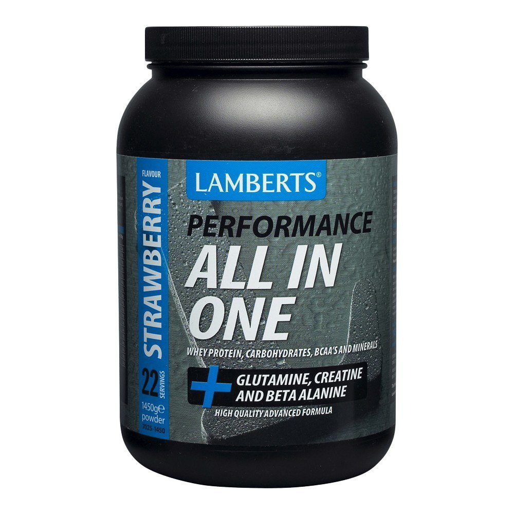 Lamberts All-In-One Strawberry Flavour Sports Shake 1450 g Powder - Lifestyle Labs