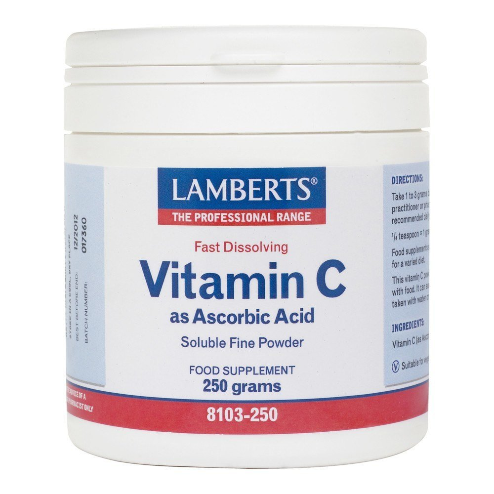 Lamberts Ascorbic Acid Vitamin C 1000 mg 250 g Powder - Lifestyle Labs