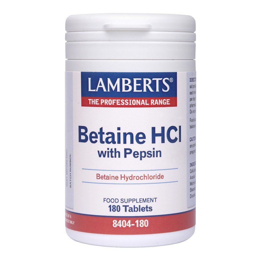 Lamberts Betaine HCl 324 mg & Pepsin 5 mg 180 Tablets - Lifestyle Labs