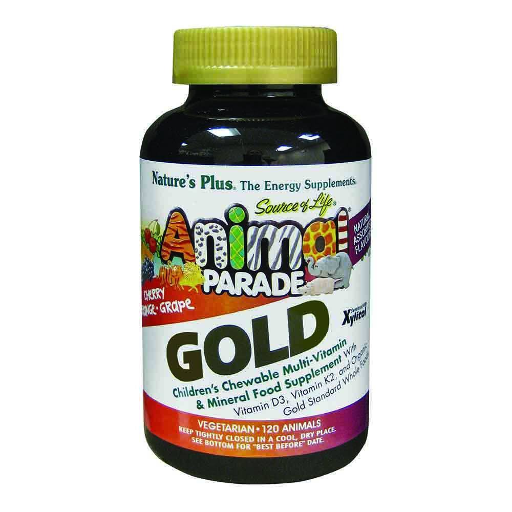 Natures Plus Animal Parade Gold Assorted Flavours 120 Chewables - Lifestyle Labs