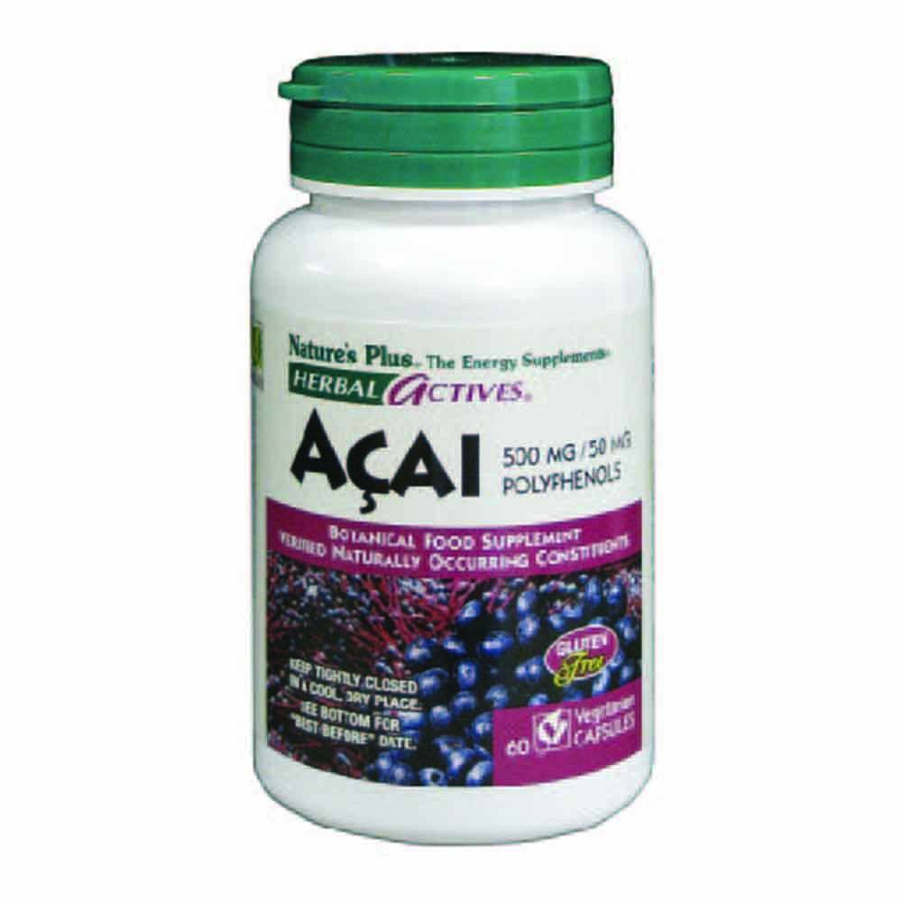 Natures Plus Herbal Actives Acai 500 mg 60 Capsules - Lifestyle Labs