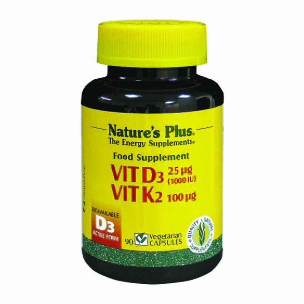 Natures Plus Vitamin D 1,000 IU plus Vitamin K2 100 mcg 90 Capsules - Lifestyle Labs