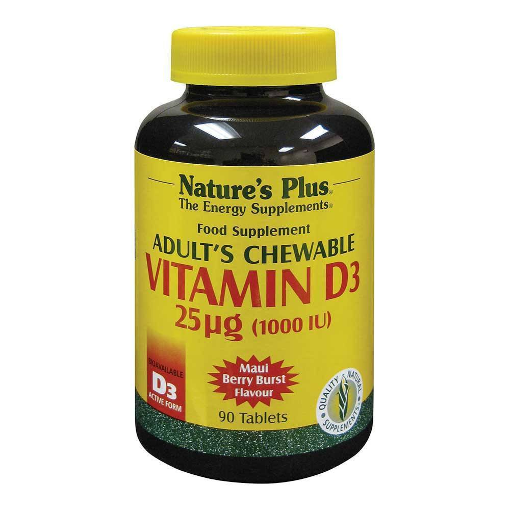 Natures Plus Vitamin D3 1,000 IU 90 Chewables - Lifestyle Labs