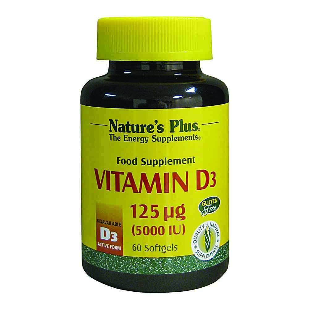 Natures Plus Vitamin D3 5,000 IU 60 Softgels - Lifestyle Labs