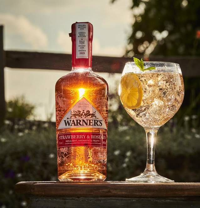Warner's Strawberry & Rose Gin 40% Handcrafted Gin from Warner's Distillery