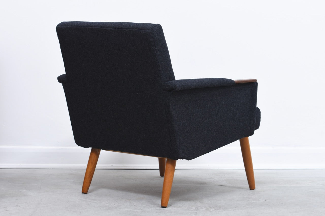 1960s Danish low back lounge chair with teak paws and beech legs