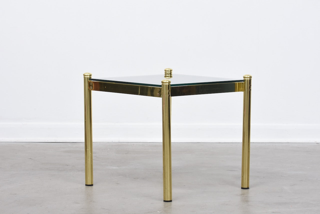 1970s brass + glass end table